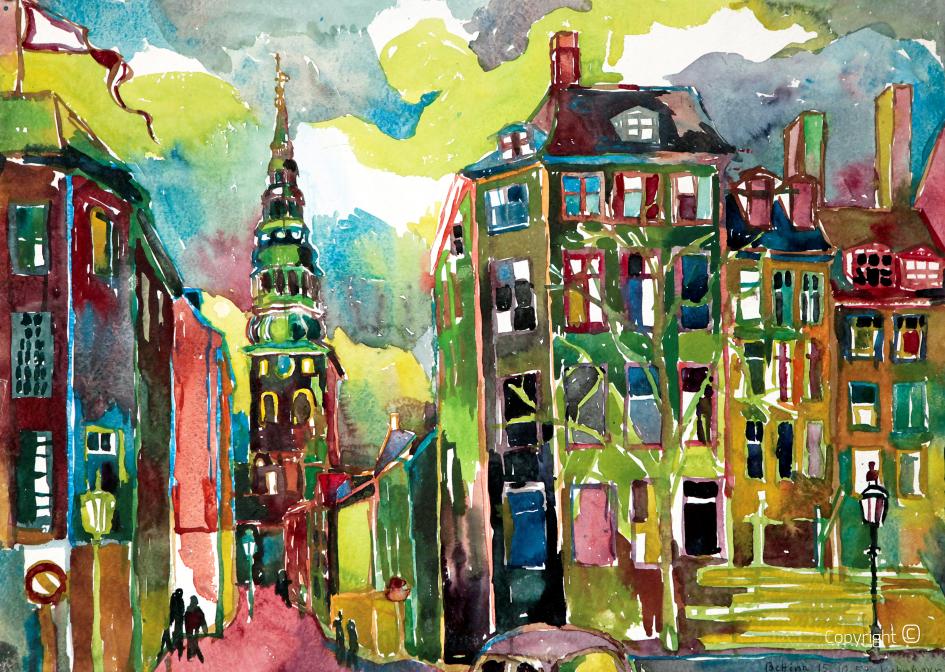 City vedute of Copenhagen, 1953