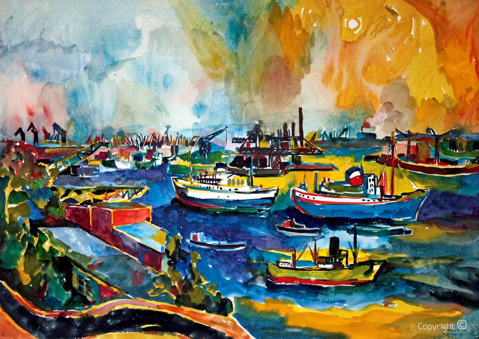 Regatta im Hafen von Hamburg, 1955