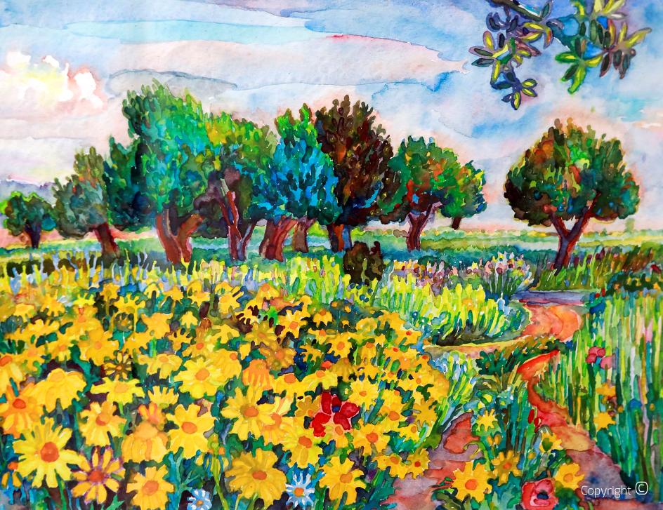 Blumenwiese bei Guelma im Frühling, 1989