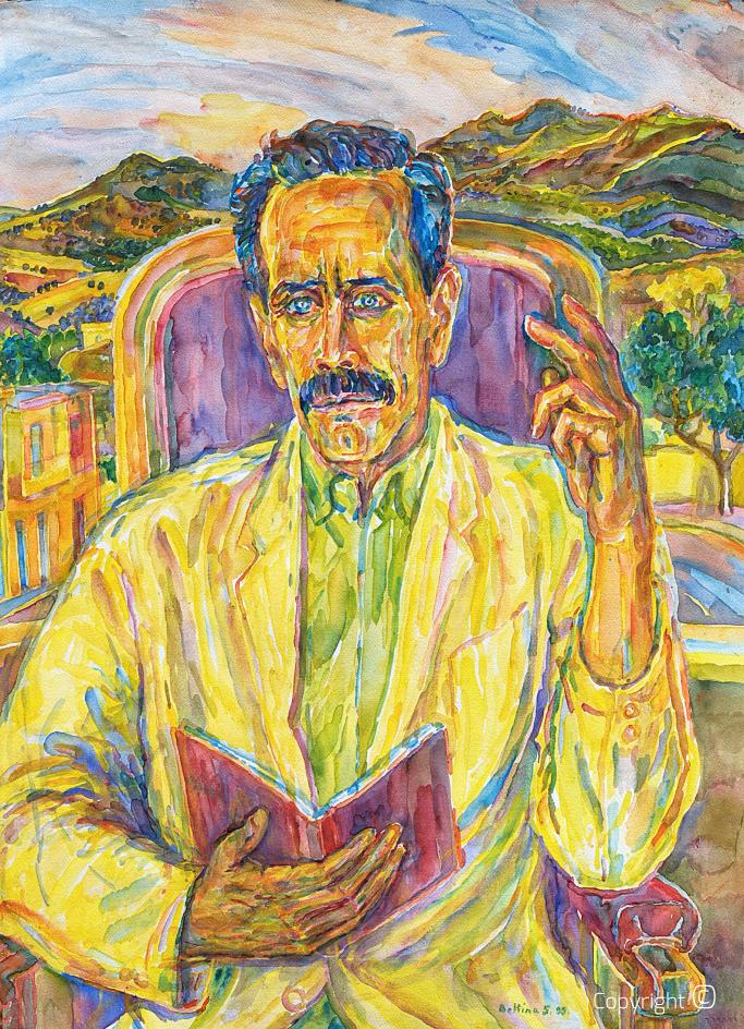 Portrait du poète Ahmed Achouri, 1991