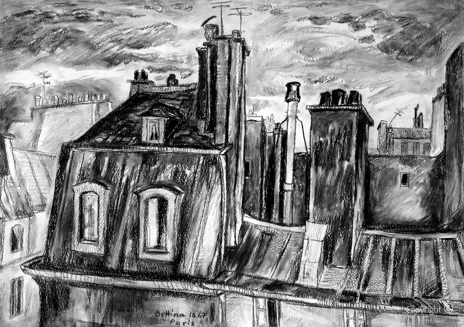 Kohlestudie der Dächer von Paris, 1967