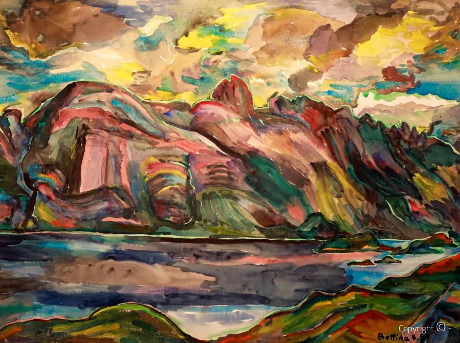 Fjord landscape in Norway, 1954