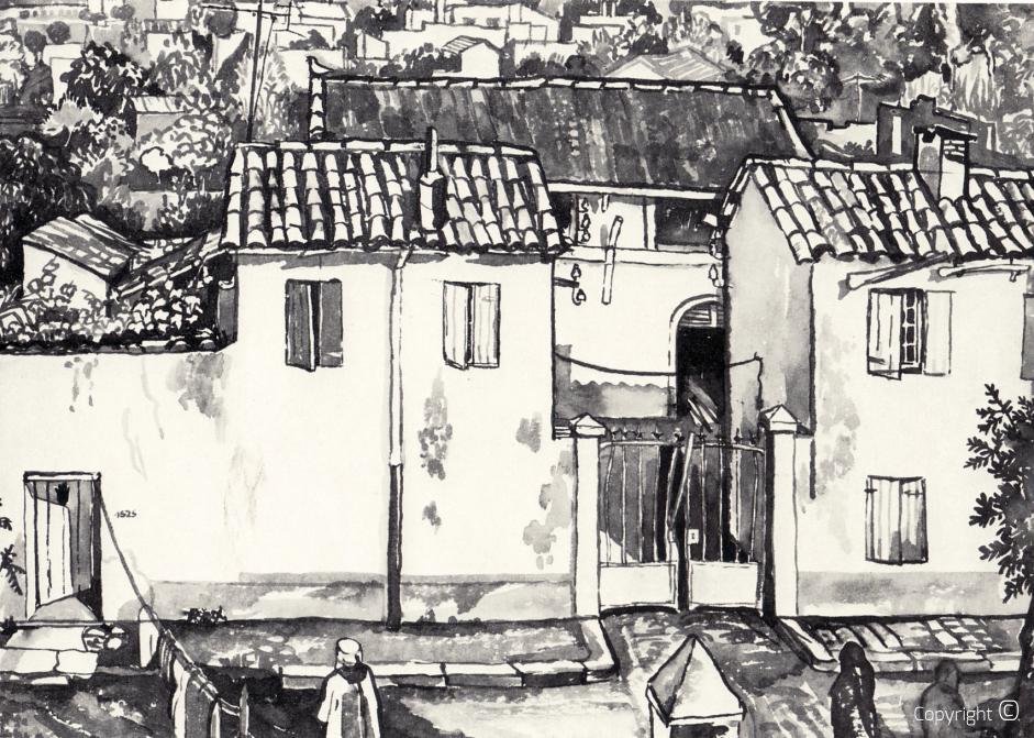 L'ancien abattoir de Guelma, encre de Chine, 1978