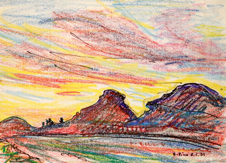Crépuscule sur les contreforts du massif des Aurès, 1991
