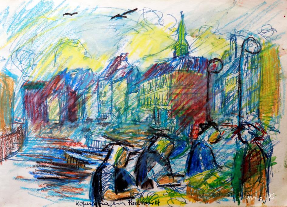 Le marché aux poissons de Copenhague, 1955