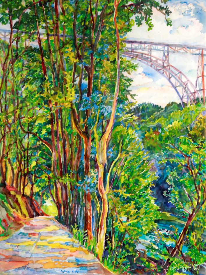 View of Wupper and Müngstner Brücke, 1996
