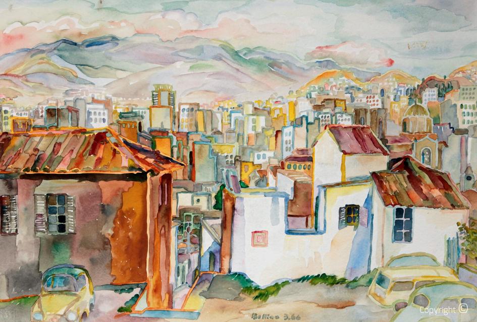 Vue sur la ville d'Athènes, 1966