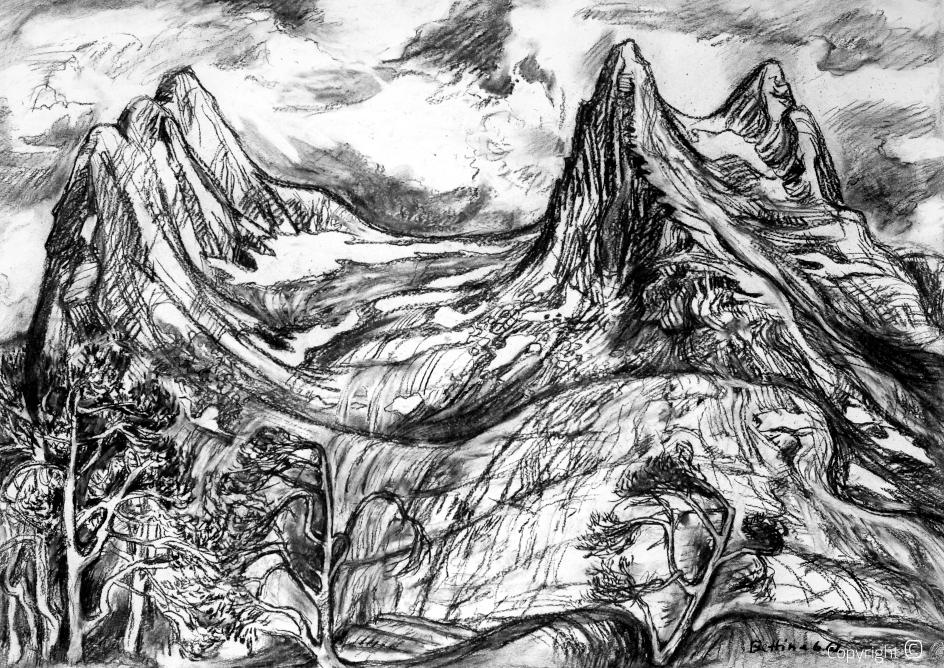 Bergmassiv auf der Insel Aalsten in Nordnorwegen, 1962