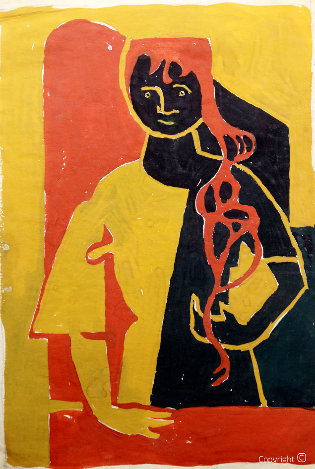 Self-portrait, woodcut black and yellow, 1950s
