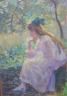 Portrait d'Yvonne Malivel dans un parc