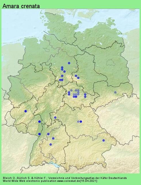 Verbreitungskarte aus Deutschland von Amara crenata Dejean, 1828