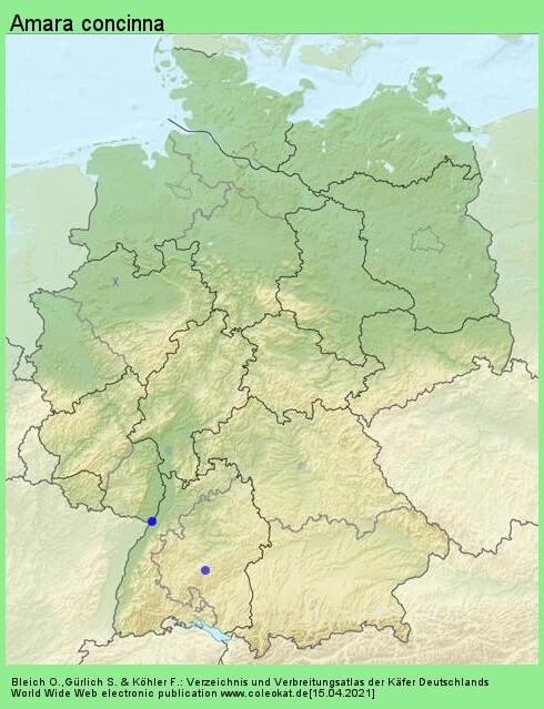 Verbreitungskarte aus Deutschland von Amara concinna C. Zimmermann, 1832