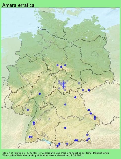 Verbreitungskarte aus Deutschland von Amara erratica (Duftschmid, 1812)
