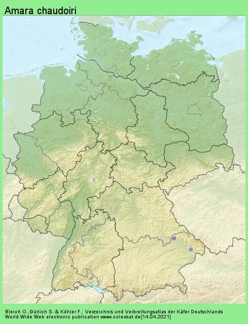Verbreitungskarte aus Deutschland von Amara chaudoiri incognita Fassati, 1946