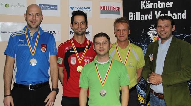 ©Philip Nessmann (Foto). Von Links: Georg Höberl (3.), Khalili Khoshmehr Vahid (1.), Andreas Brezic (2.), Helmut Pichler (3.) und KBV Präsident Michael Neumman