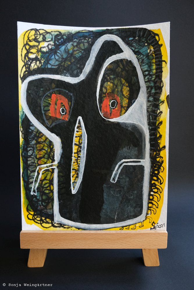 Halloween 2021 No. 1 | Mischtechnik auf Papier | 24 x 17 cm | 125 Euro
