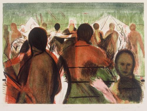 Zelte, 1998, Lithographie, 4 Steine, 48 x 64 cm, Edition 20