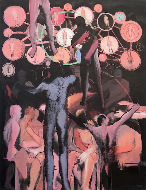 Michael Hedwig, Kleines Welttheater, 2018, Acryl auf Leinwand, 90x70cm