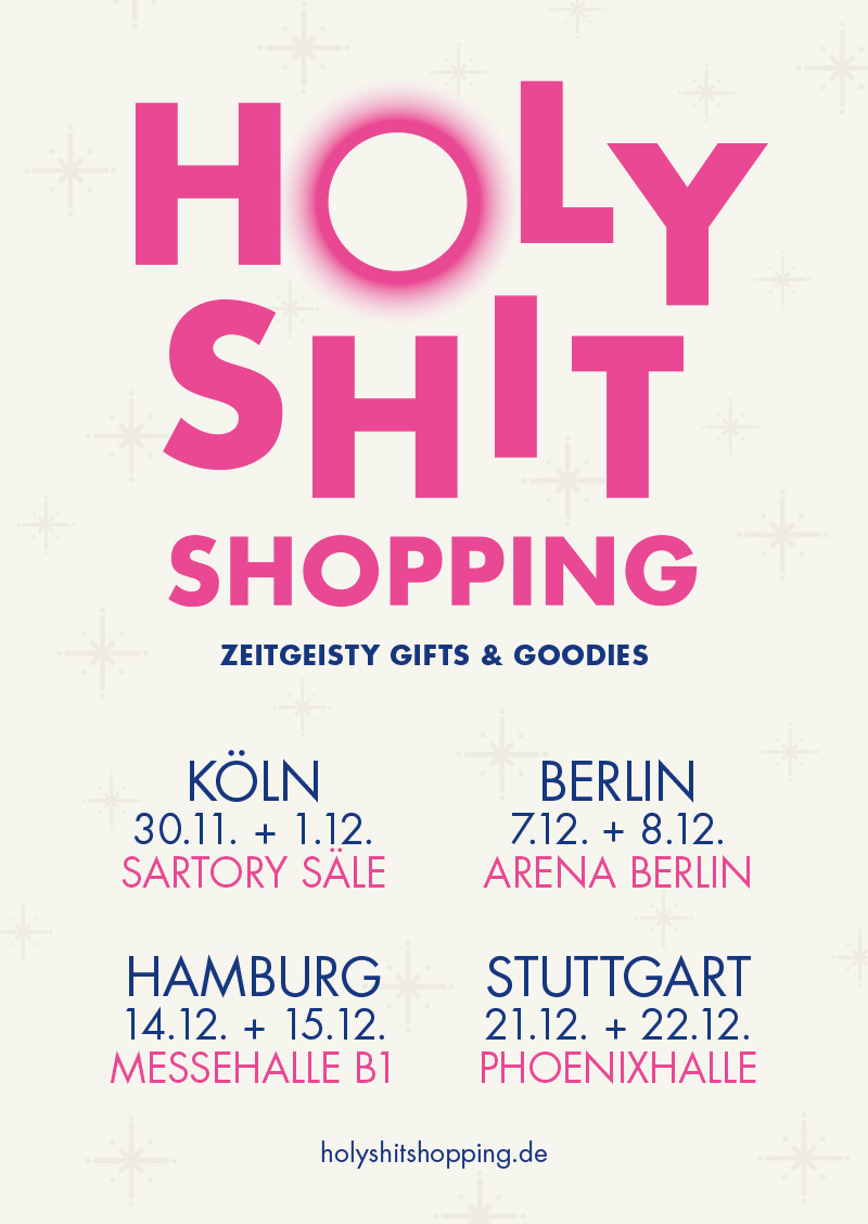 Holy Shit Shopping Plakat vier Städte