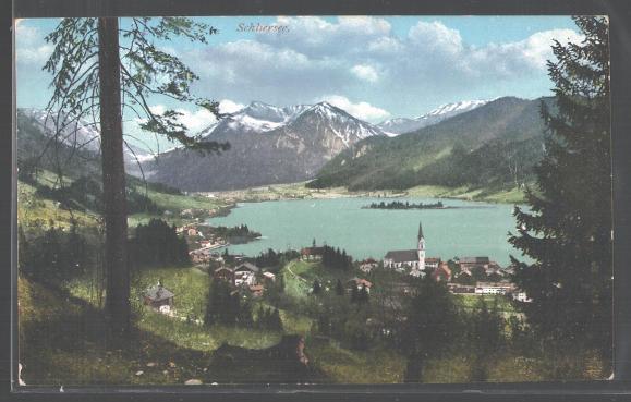 """Blick von der """"Hochburg"""" auf See und Berge"""