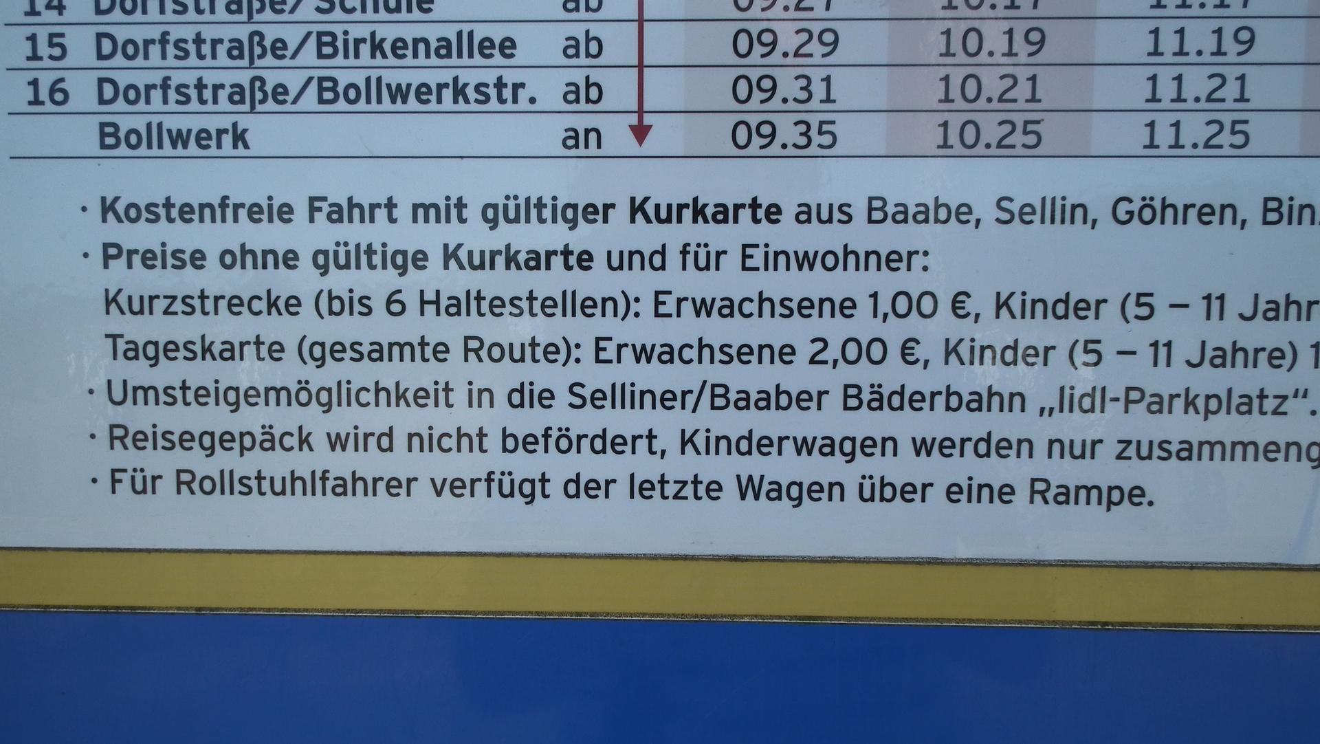 Preise Bimmelbahn