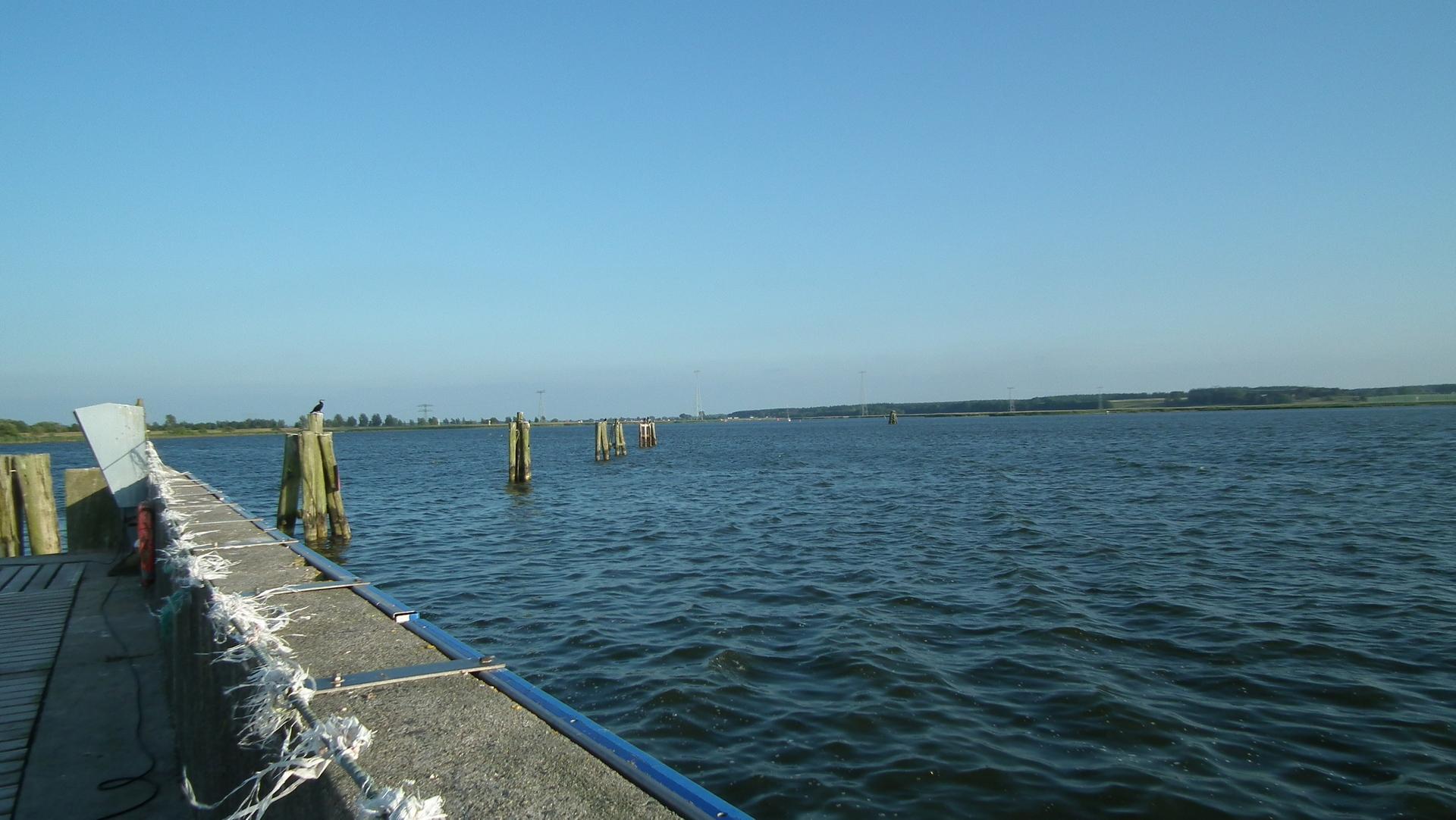 Blick vom Vereinshafen Peenemünde auf den Peenestrom