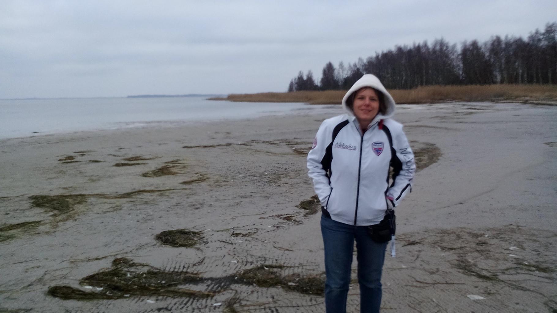 Der kleine Strand am Hafen Barhöft