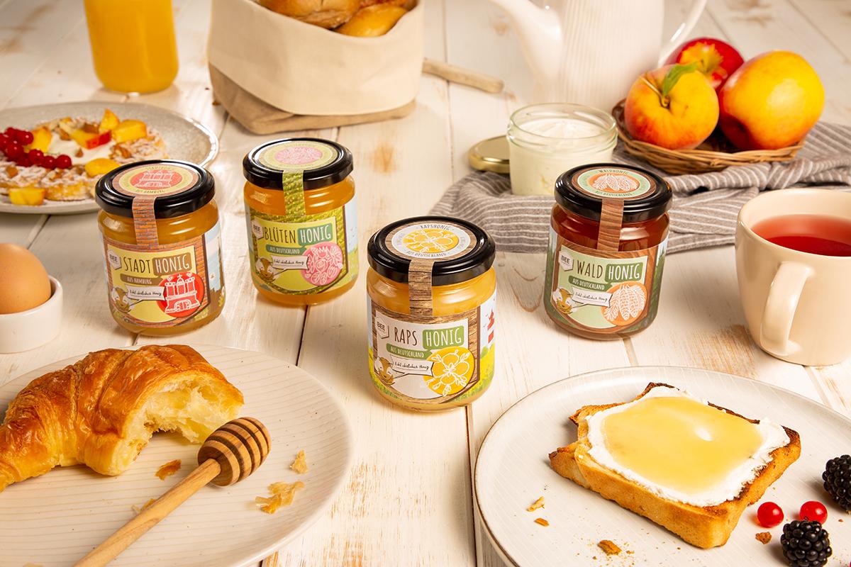 Echt ehrlicher Honig in vier leckeren Sorten