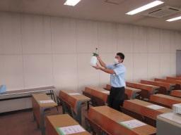 木更津自動車学校-コロナ対策教室消毒