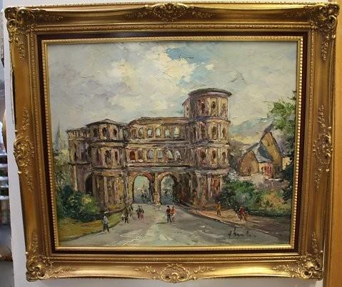 Bild von der Porta Nigra. Künstler: Fritz Schreiber, geb.: 01.03.1929 in Bleidenstadt (Taunus), Meisterschüler von Prof. W.P. van…