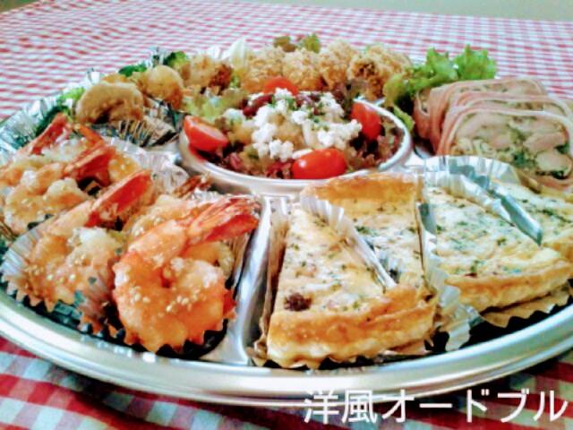 【メニュー】・キッシュロレーヌ ・若鶏とベーコンのテリーヌ・広島産カキフライ・カッテージチーズと4種の豆のマリネ・海老のフリット・帆立貝のガーリックバター焼き