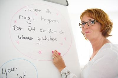 Die Dozentin und Lehrtrainerin Petra Kölln am Flipchart