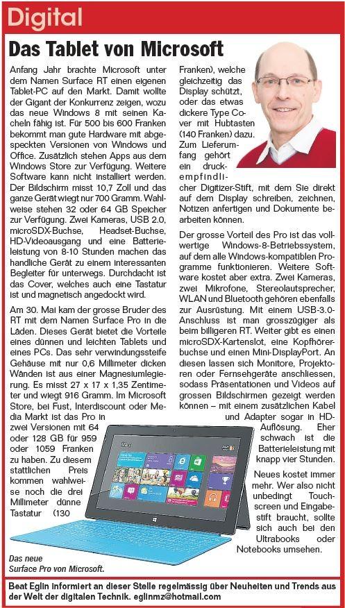 Surface Tablet - Juni 2013