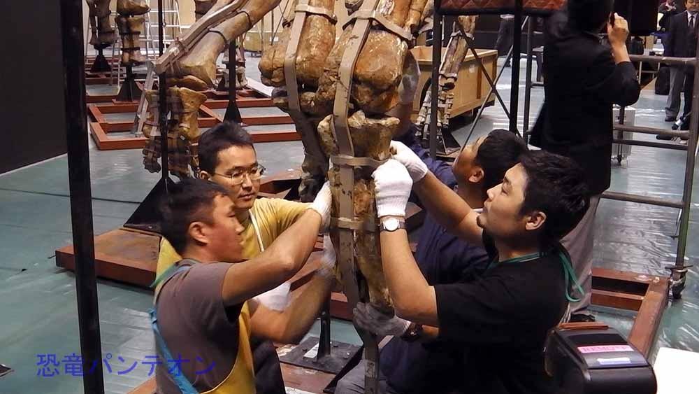 タルボサウルスの右脚下部取り付け