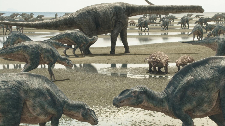 「むかわ竜」が生きた恐竜世界の CG © NHK