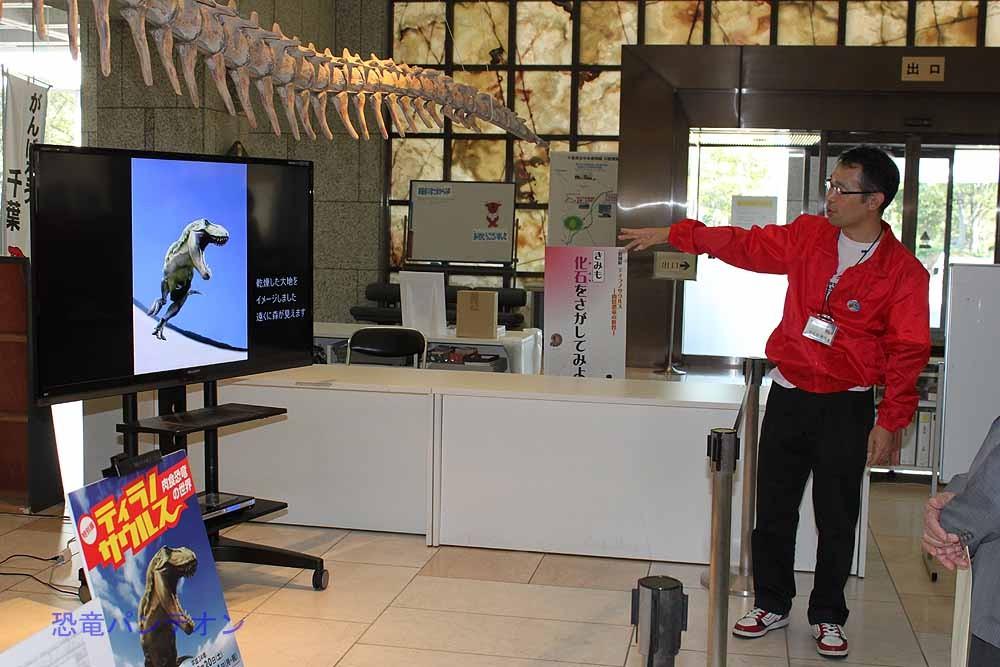 カルノタウルス骨格前で説明する、伊左治学芸員。恐竜くんのイラストも映しだされています。