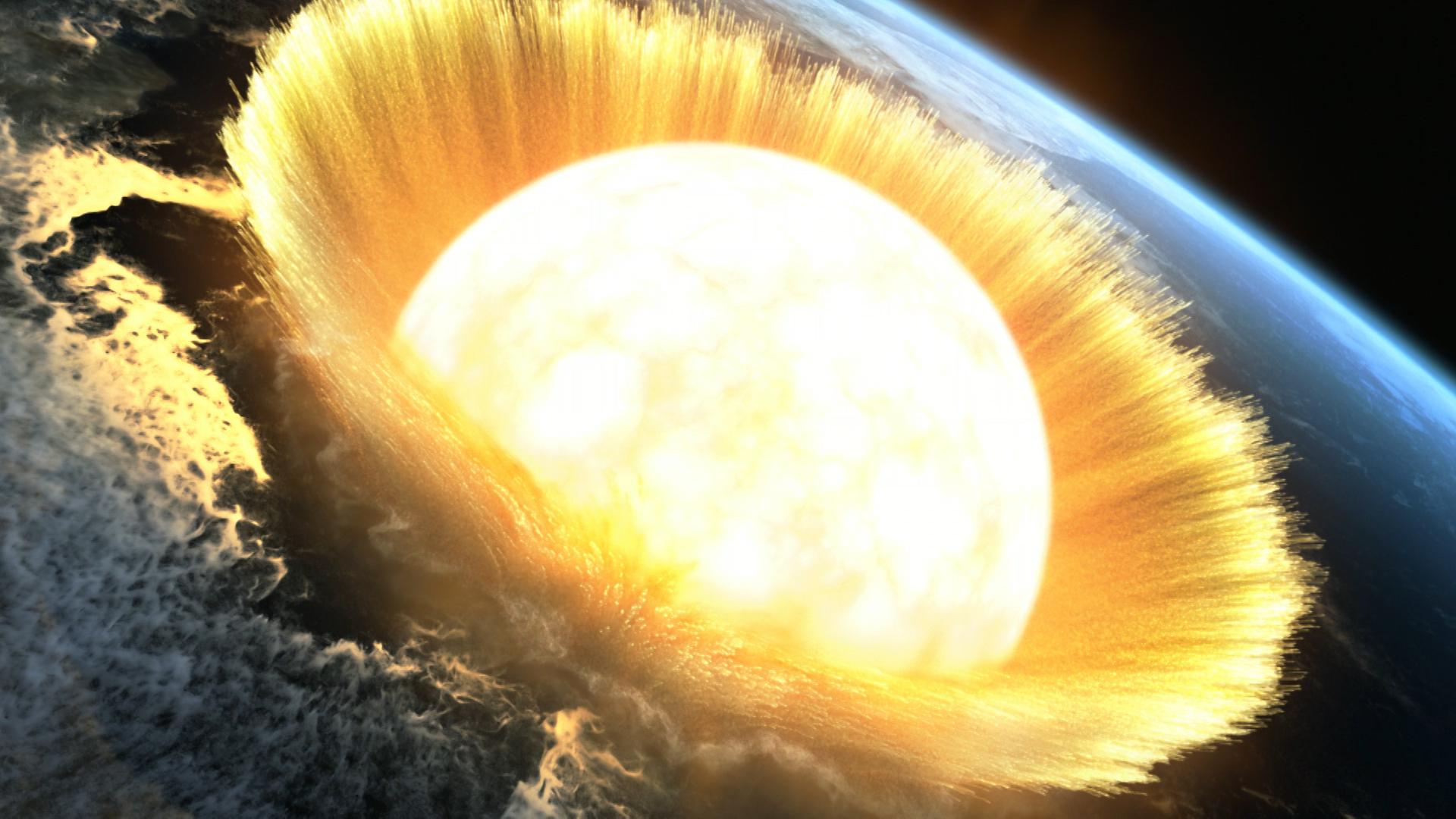 隕石衝突のCG © NHK