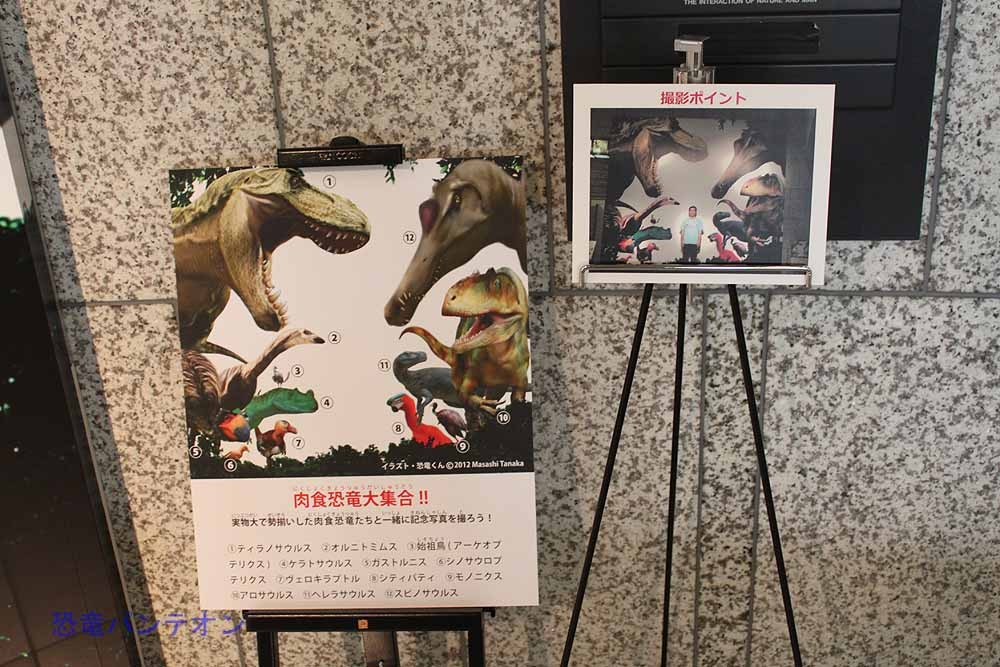 イラストの真ん中に立つと、実物大の恐竜に囲まれたあなたが写ります。