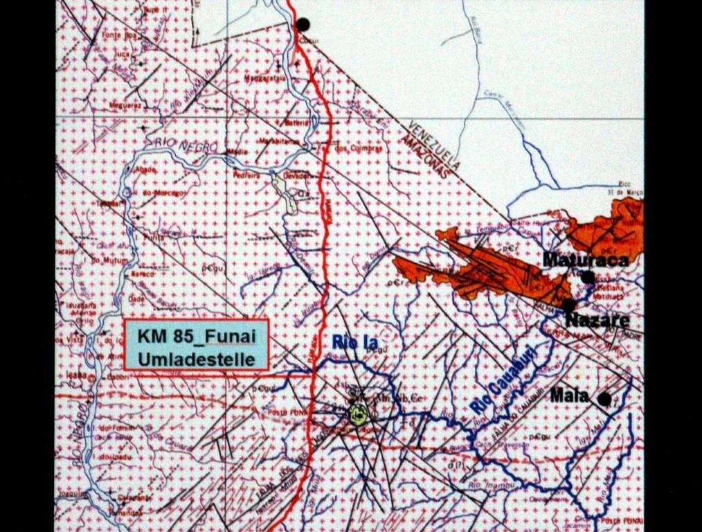 Landkarte mit eingezeichneten Yanomami-Gebieten.