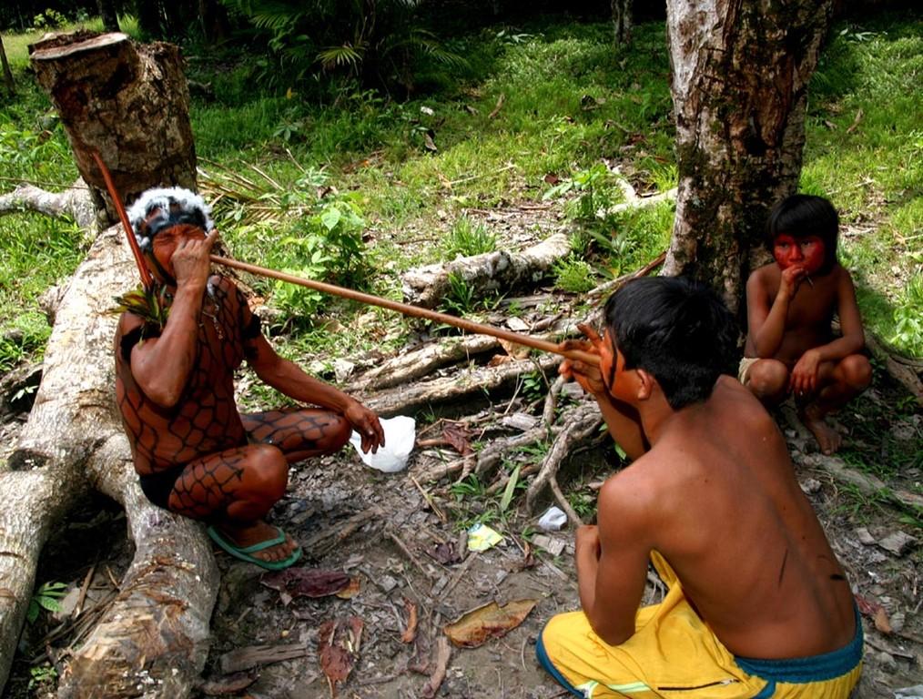 Bei solchen Festen blasen sich die Indios gegenseitig diese Droge mit einem Rohr in die Nase.