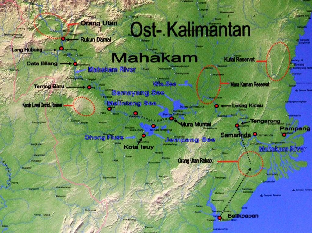 Unsere Fischfangreise mit einem Boot führte von Tengarong über den Mahakam-River ins Seengebiet bis Melak, mit dem Auto weiter über Kersik nach Terring und weiter mit dem Boot zu den Dayakdörfern am Oberlauf des Mahakam.