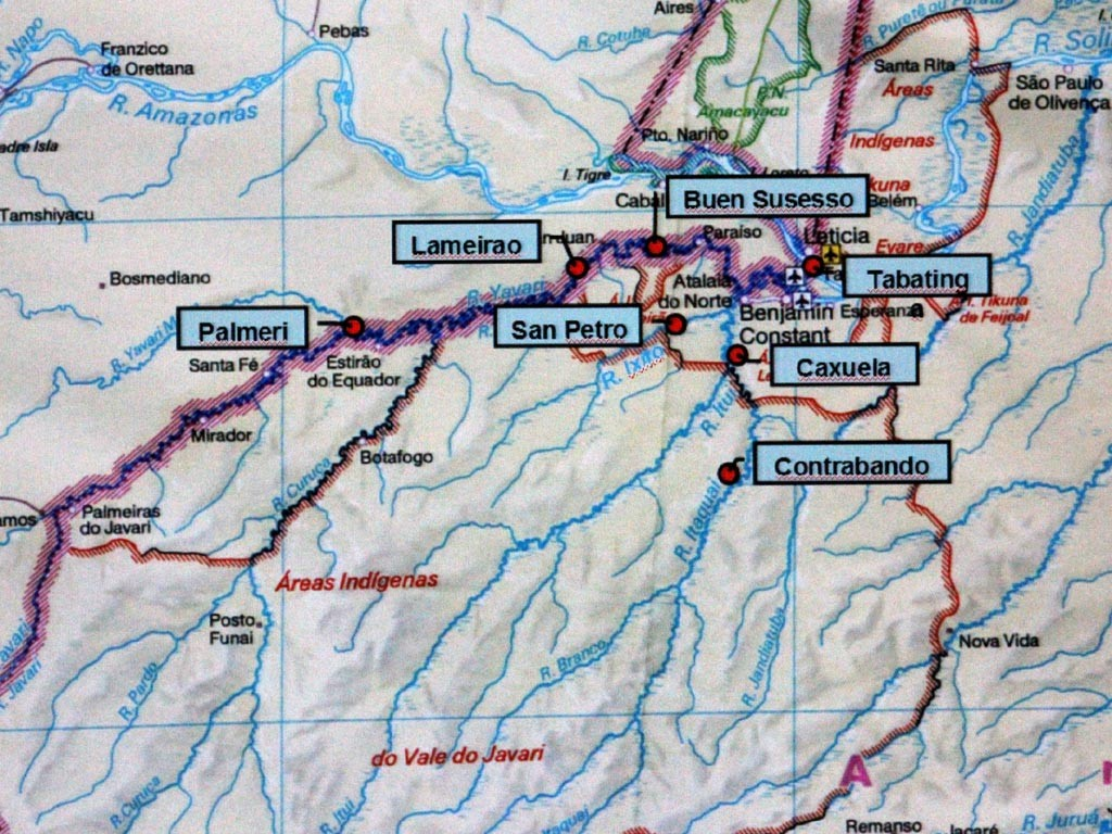 Landkarte des Javarí-Beckens. Eingetragen sind die wichtigsten Dörfer der Fischer.