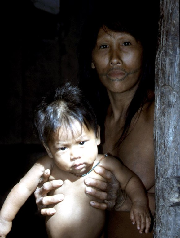 Die noch verbliebenen 50 Mayoruna, hauptsächlich Kinder und Jugendliche, wohnten in 4 Häusern.