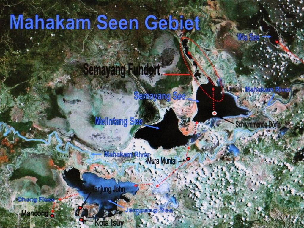 Übersichtskarte von unseren Fanggebieten im Mahakam Seengebiet.