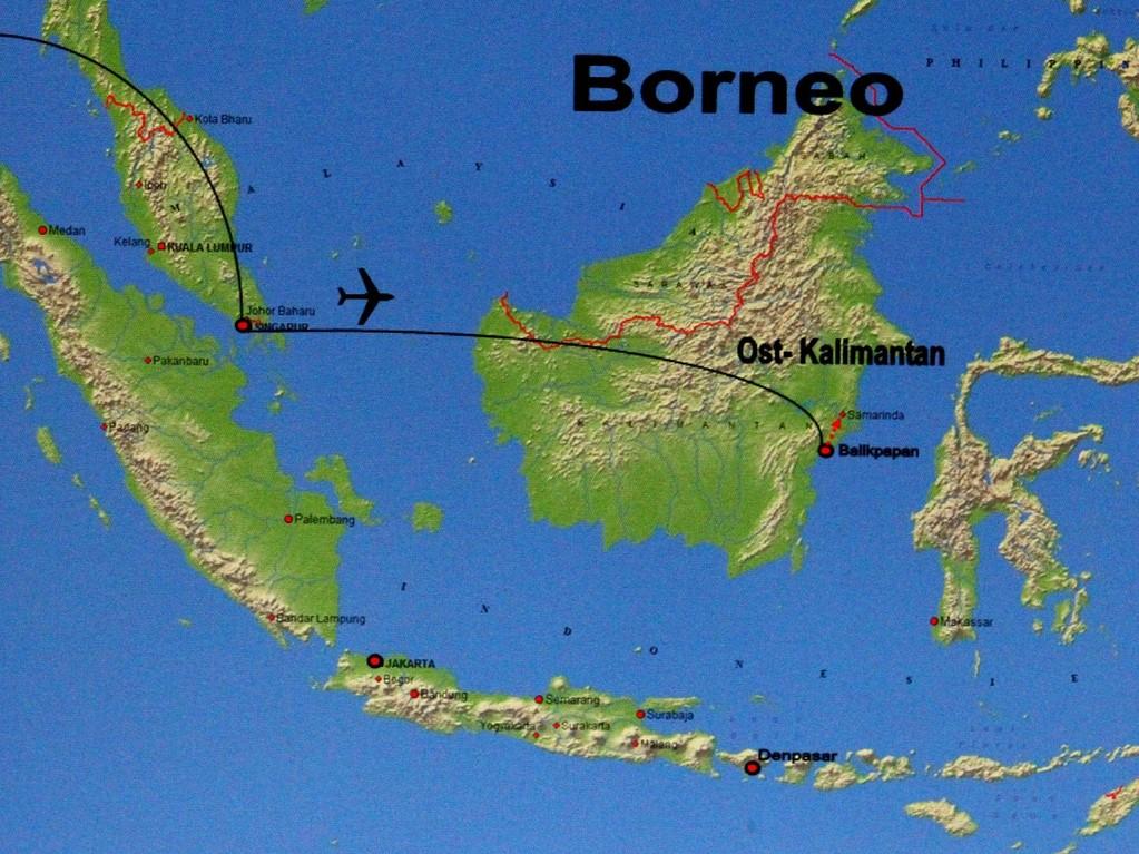 Anreise von Wien über Bangkok und Singapur nach Balikpapan in Indonesien.