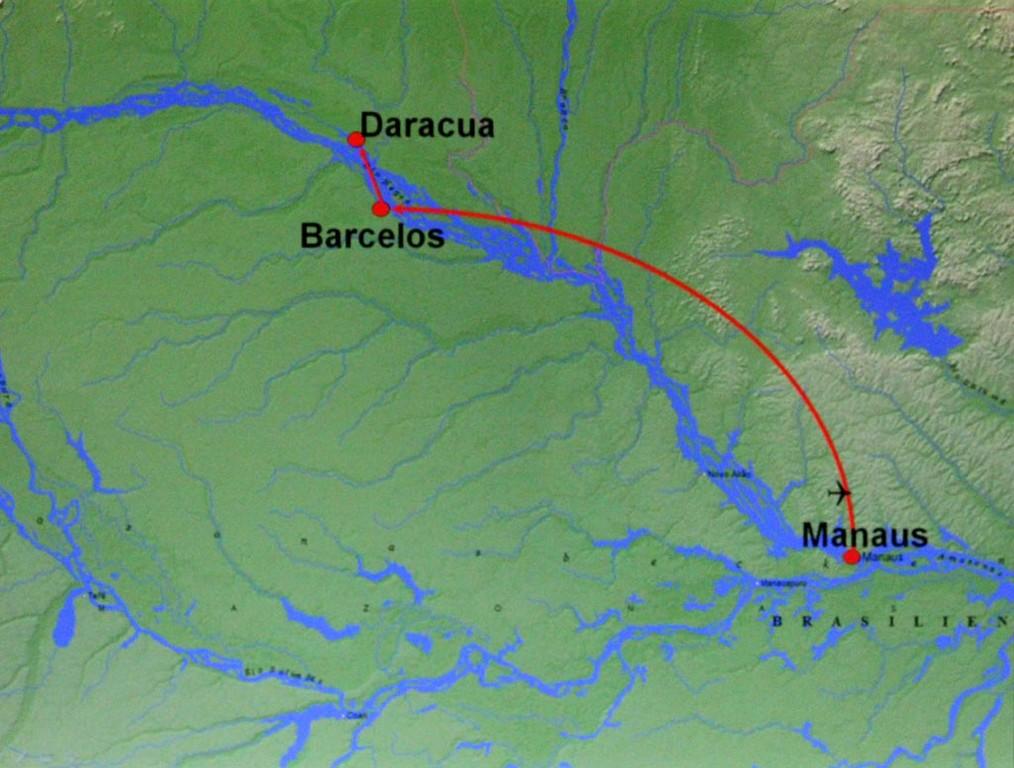 Landkarte Anflug Manaus – Barcelos; Daracuá habe ich auch bereits eingetragen.