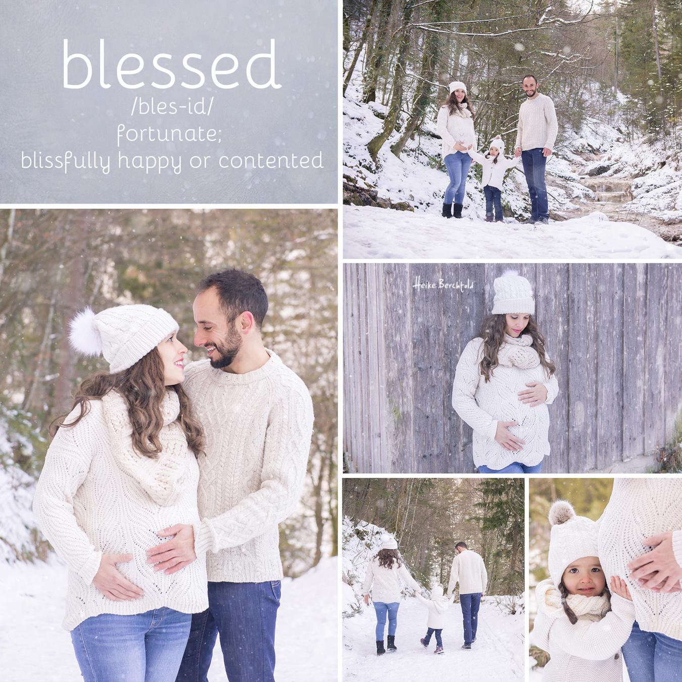 Familie & Babybauch im Winter