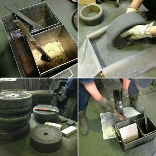 にかわ塗り作業 鉄バフに、ニカワ塗りしエメリー粉をつけています (登商会撮影)