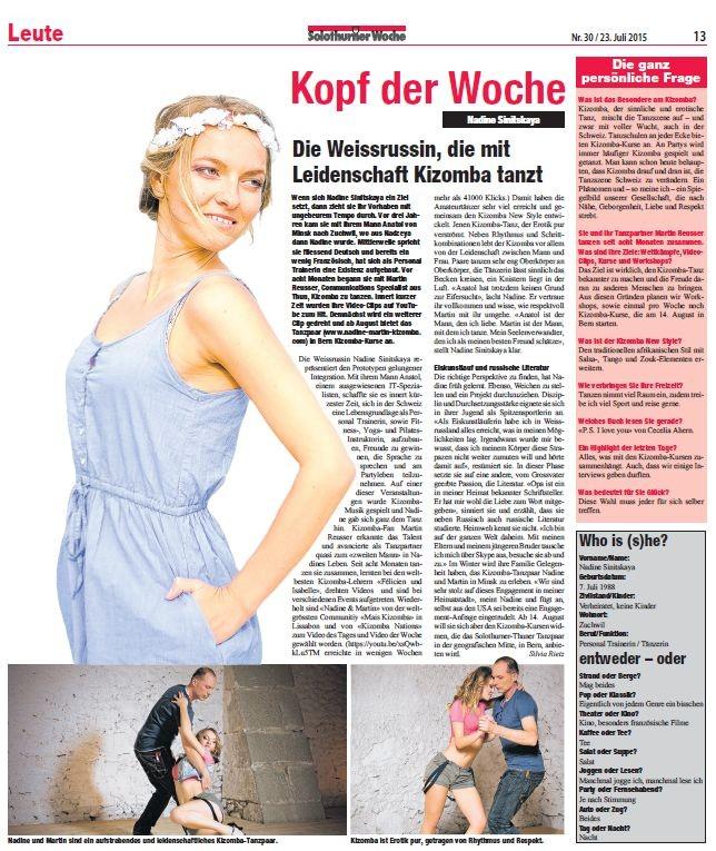 Nadine Sinitskaya, Kizomba, Solothurner Woche