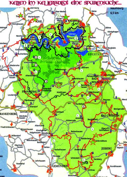 ... die Sterne bezeichnen die Stellen, an denen sich nachgewiesene bronzezeitliche und keltische Relikte befinden, Hügelgräber, Wallanlagen und auch Siedlungsreste